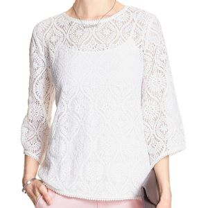 NEW Banana Republic Factory White Lace Top